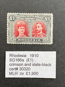 Rhodesia 1910 Sg 166a Double Head Andpound1 Mh Stamp With Certificate