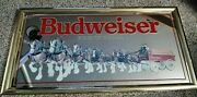 Vintage 1991 Budweiser King Of Beers Clydesdale Bar Mirror 27x14andrdquo