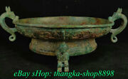 16 Old China Bronze Ware Dynasty Dragon Beast Plate Tray Food Vessels