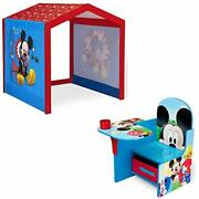 Disney Mickey Mouse Indoor Playhouse With Fabric Tent + Mickey Mouse Chair De...
