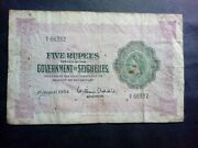 Seychelles 5 Rupees 1954 Scarce Large Banknote