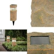Rock Pillar Path Light Led Solar Powered Landscape Lamp Home Outdoor Use 2 Pack