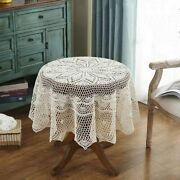 Vintage Round Hand Crochet Tablecloth Cotton Lace Table Cloth Doily Wedding
