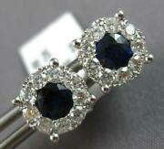 Large 1.48ct Diamond And Aaa Sapphire 14kt White Gold Round Flower Stud Earrings