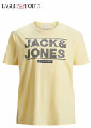 Yellow Cotton T-shirt Round Neck Short Sleeve Plus Size Man. Big And Tall.