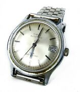 Vintage Menand039s Timex Automatic Wrist Watch Silver Tone Water Resistant For Parts