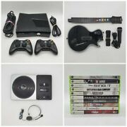 Xbox 360 250gb Slim Console With 2 Controllers Guitar Hero Dj Hero And More