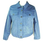 New Woman Within Light Blue Plus Size 20w Jacket Corduroy Stretch Cropped Length