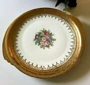 Vitg 1939 Edwin M Knowles China Handled Cake Plate Gold Filigree Serving Platter