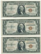 1935 A Hawaii 1 One Dollar Silver Certificates-3 Consecutive Serial S Scarce