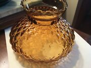 Amber Lamp Glass Shade Vintage Quilted Hurricane Replacement 5.5 Wide Base