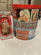 Vintage Coca Cola Collectible Popcorn Tin Can 1989 And 2 Decks Playing Cards Nwt