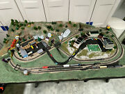 N-scale Model Train 3andrsquox6andrsquo 2-level Complete Layout W/ Train And Bldgs Andndash New