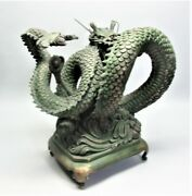 Huge 22 X 20 Vintage Chinese Bronze Sculpture Of A Dragon C. 1950