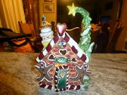 Retired Blue Sky Gingerbread Candle House, Signed, Displayed Shape 888035