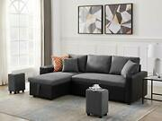Starto Convertible Sectional Sofa L-shaped Couch Pull Out Bed Modern Linen Sl...
