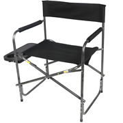 Director's Chair With Side Table, Black, Outdoor Sports Camping Foldable New