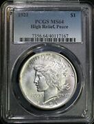 1921 P Peace Silver Dollar Pcgs Ms64 High Relief Lustrous Key Date Low Mintage