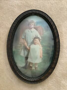 Antique Oval Pictures - Bubble Glass Little Child And Mother Beautiful