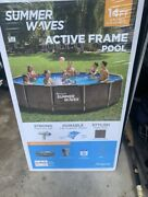 Summer Waves 14and039x36 Wicker Print Metal Frame Pool And Filter Pump-local Pickup