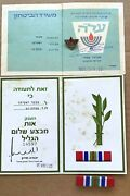 Peace For Galilee 1983 War Ribbon And Idf Service Badge 1981 With Document