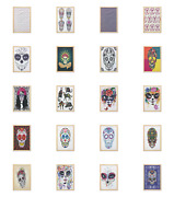 Ambesonne Sugar Skull Wall Art With Frame For Bathrooms Living Room Dorms
