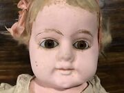 Vintage Antique 25andrdquo Composition Cloth Baby Doll Straw Glass Eyes Needs Repair
