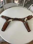 Vintage Pair Of Hubley Texan Jr Toy Cap Guns With Holster