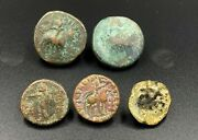 Sale 5 Pieces Ancient Kushan Greek Indo Old Bronze Rare Coins