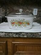 Rare Vintage Corningware Spice Of Life 5 Liter Casserole A-1-b Embossed With Lid