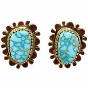 Vernon Haskie 14k Gold Earrings Number Eight Turquoise Coral Navajo 1 1/4