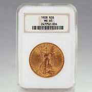 1928 20 St. Gaudens Gold Double Eagle Graded By Ngc As Ms-65 Old Holder