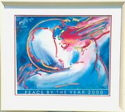 Peter Max Peace By The Year 2000 Lithograph On Paper Hand Signed Custom Framed