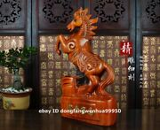 China Rosewood Wood Hand Carved Fengshui Auspicious Wealth Animal Horse Statue