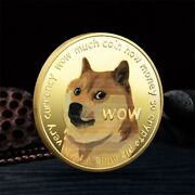 50x Gold Dogecoin Coins Commemorative 2021 New Collectors Gold Plated Doge Coin