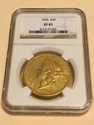 1858 Xf45 Ngc Liberty Double Eagle 20 Gold Coin Eyeclean Rare P-mint No Pcgs