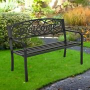 Outdoor Xl 2-3 Seater Park Chair Seat Antique Metal Steel Patio Bench Furniture