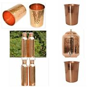 Combo For Sale   Pure Copper Dispenser - Hammered And Plain Bottle - 4 Glasses  