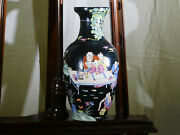 Chinese Qing Dy Hand Done Noir Vase People In China Decor