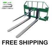 Free Shipping - Es John Deere Combo 49 Spear 48 Pallet Forks Jd Quick Attach