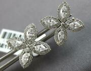 Large 1.14ct Diamond 18k White Gold Round And Marquise 4 Leaf Clover Stud Earrings