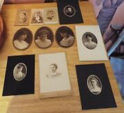 Lot Of 11 Antique Womenand039s Photographs Cabinet Photos Black And White. Lot 1