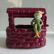 Vintage Gilner Cold Painted Pixie Elf On Red Wishing Well Planter