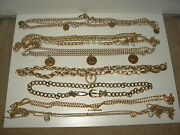 20+ Vintage Gold/silver Coins-pearls-plastic Disks-circles Metal Chain Belts Lot