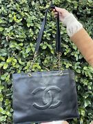Cc Logo Chain Tote Classic Bag Gold Chain Leather Black Vintage 12933