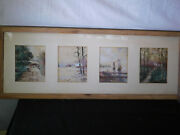 4-antique Original Paintings Signed And Done By Same Artist Framed