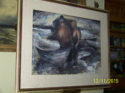 Alan Hynd American Artist Mixed Media On Paper Large Abstract Fisherman Seascape