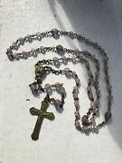 Antique Victorian Saphiret Glass Dainty Catholic Rosary Ooak Rare Hard To Find