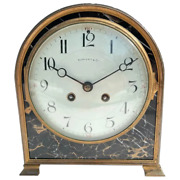 Bronze And Marble Art Deco Desk Or Mantle Clock
