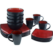 16-piece Dinnerware Set Kitchen Square Dinner Plates Bowls Mugs Dishes Red New